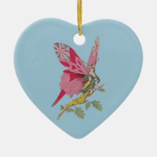vintage patriotic butterfly union jack ceramic heart decoration