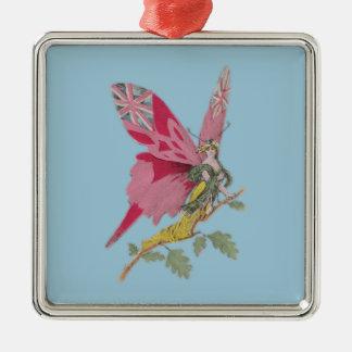 vintage patriotic butterfly union jack Silver-Colored square decoration