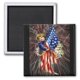 Vintage Patriotic Child and Fireworks Magnet