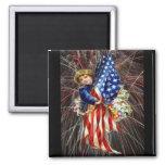 Vintage Patriotic Child and Fireworks Square Magnet
