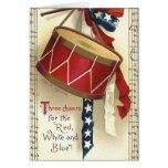 Vintage Patriotic, Drums with Musical Notes Greeting Card