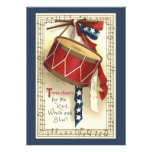 Vintage Patriotic, Drums with Musical Notes Custom Invitations
