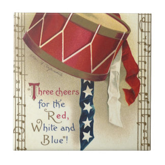 Vintage Patriotic, Drums with Musical Notes Small Square Tile