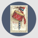 Vintage Patriotic, Drums with Musical Notes Sticker