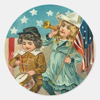 Vintage Patriotic Girl and Boy Sticker