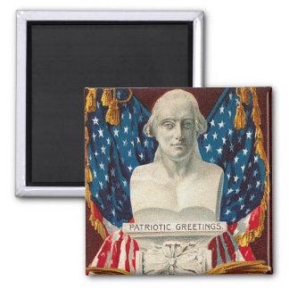 Vintage Patriotic Greetings Square Magnet