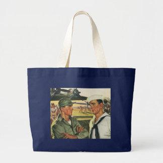 Vintage Patriotic Heroes, Military Personnel Jumbo Tote Bag