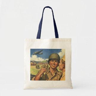 Vintage Patriotic Heroes, Military Personnel Plane Budget Tote Bag