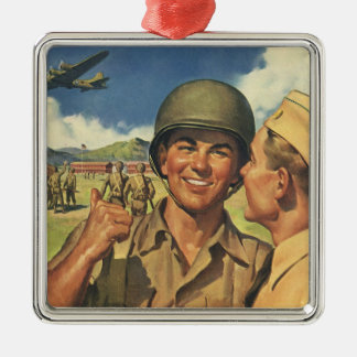 Vintage Patriotic Heroes, Military Personnel Plane Christmas Ornament