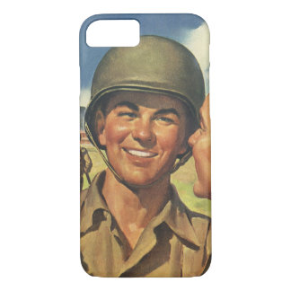 Vintage Patriotic Heroes, Military Personnel Plane iPhone 7 Case