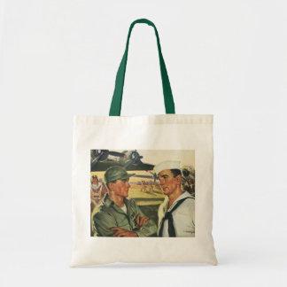 Vintage Patriotic Heroes, Military Personnel Tote Bag