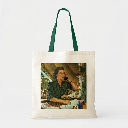 Vintage Patriotic, Medical Nurse on Phone Canvas Bag