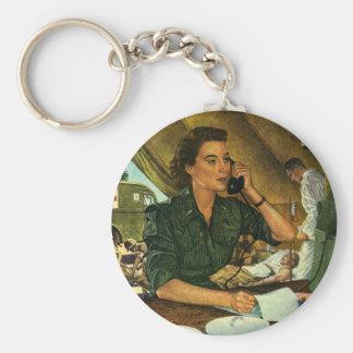 Vintage Patriotic, Medical Nurse on Phone Basic Round Button Key Ring