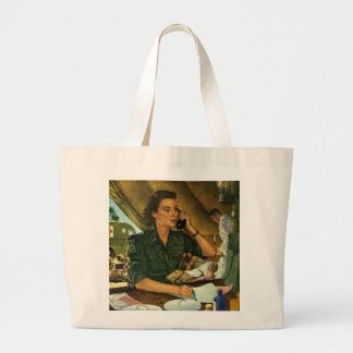 Vintage Patriotic, Medical Nurse on Phone Jumbo Tote Bag