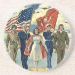 Vintage Patriotic, Military Personnel Drink Coaster