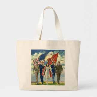 Vintage Patriotic, Proud Military Personnel Heros Canvas Bag