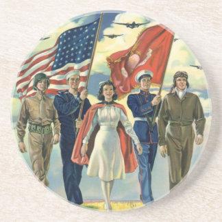 Vintage Patriotic, Proud Military Personnel Heros Beverage Coaster