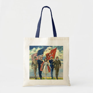 Vintage Patriotic, Proud Military Personnel Heros Budget Tote Bag