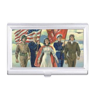Vintage Patriotic, Proud Military Personnel Heros Business Card Holder