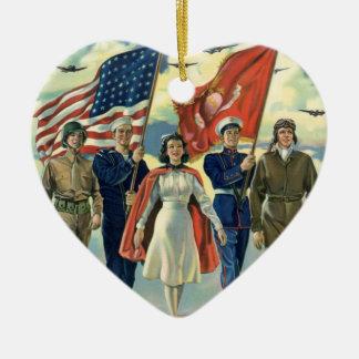 Vintage Patriotic, Proud Military Personnel Heros Ceramic Heart Decoration