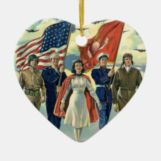 Vintage Patriotic, Proud Military Personnel Heros Christmas Ornament