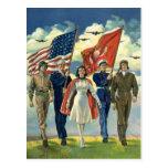 Vintage Patriotic, Proud Military Personnel Heros Postcard