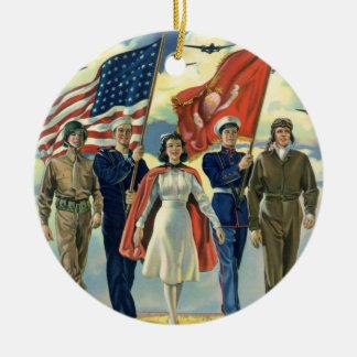 Vintage Patriotic, Proud Military Personnel Heros Round Ceramic Decoration