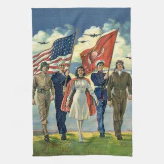 Vintage Patriotic, Proud Military Personnel Heros Tea Towel