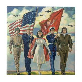 Vintage Patriotic, Proud Military Personnel Heros Tile