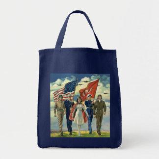 Vintage Patriotic, Proud Military Personnel Heros Tote Bag