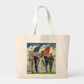 Vintage Patriotic, Proud Military Personnel Heros Jumbo Tote Bag