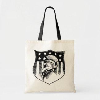 Vintage Patriotic Uncle Sam and American Flag Budget Tote Bag