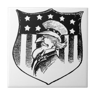 Vintage Patriotic Uncle Sam and American Flag Small Square Tile
