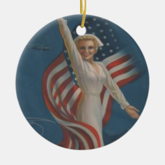 Vintage Patriotic WW2 Army Nurse with Flag Christmas Ornament