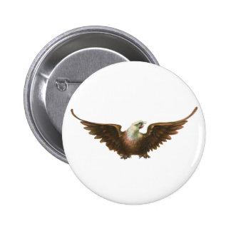 Vintage Patriotism American Bald Eagle Bird Flying Buttons
