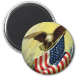 Vintage Patriotism, Patriotic Eagle American Flag 6 Cm Round Magnet