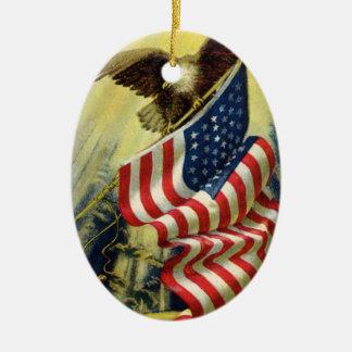 Vintage Patriotism, Patriotic Eagle American Flag Christmas Ornament