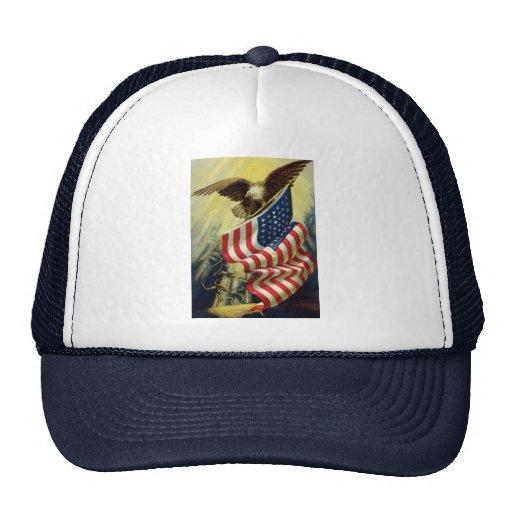 Vintage Patriotism, Patriotic Eagle American Flag Mesh Hats