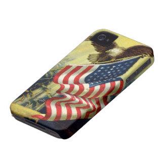 Vintage Patriotism, Patriotic Eagle American Flag iPhone 4 Case-Mate Case