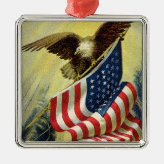 Vintage Patriotism, Patriotic Eagle American Flag Silver-Colored Square Decoration