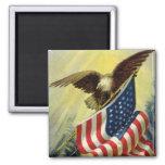 Vintage Patriotism, Patriotic Eagle American Flag Square Magnet