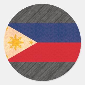 Vintage Pattern Filipino Flag Round Sticker