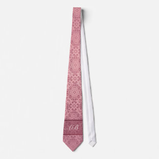 Vintage pattern floral diamonds Soft Pink (edit) Tie