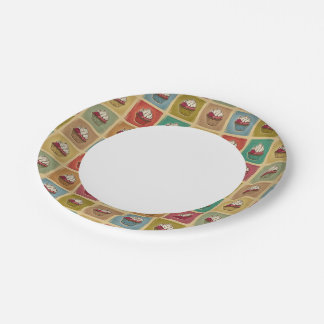 Vintage pattern made of cupcakes 7 inch paper plate
