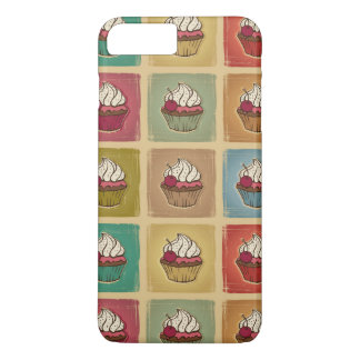 Vintage pattern made of cupcakes iPhone 7 plus case