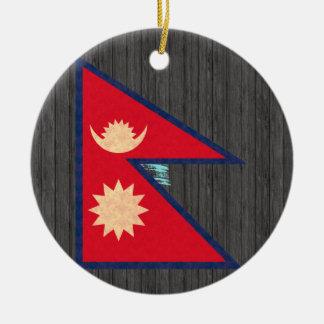 Vintage Pattern Nepalese Flag Christmas Tree Ornament