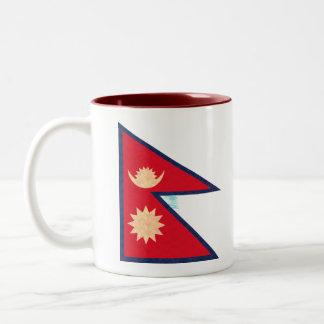 Vintage Pattern Nepalese Flag Coffee Mug