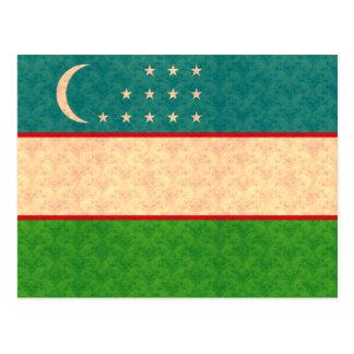 Vintage Pattern Uzbek Flag Postcard
