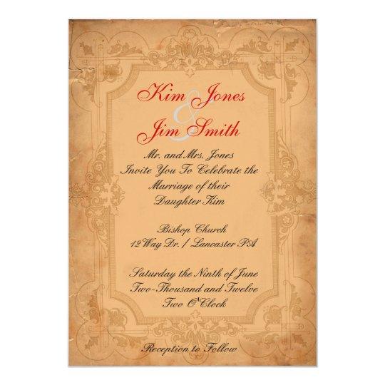 vintage pattern  wedding invitations