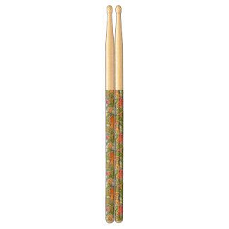 Vintage pattern with cartoon animals drumsticks